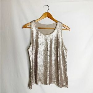 Chan Luu Sleeveless Top Sequins Champagne Beige